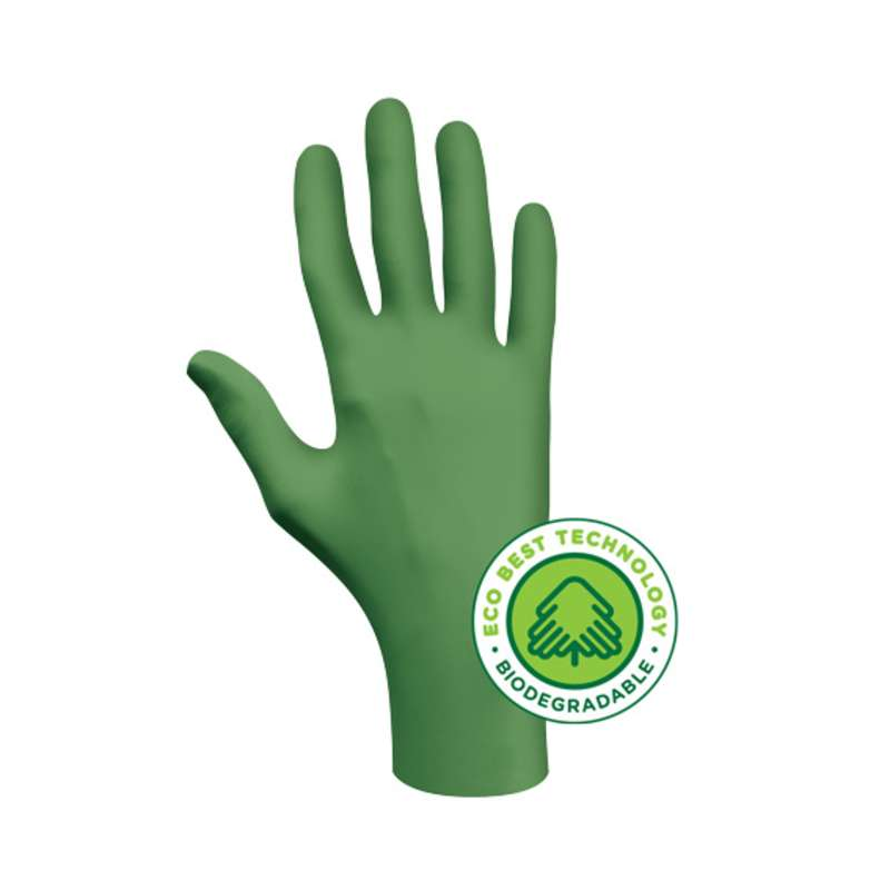 Disposable Nitrile; Showa - GreeN-DEX; Extra Large  100 gloves/box