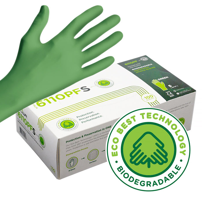 Disposable Nitrile; Showa - GreeN-DEX; Small  100 gloves/box