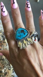 Turquoise Storm Ring Size 10.5