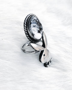 Stone Cold Bunny Ring- White Buffalo Size 7.75