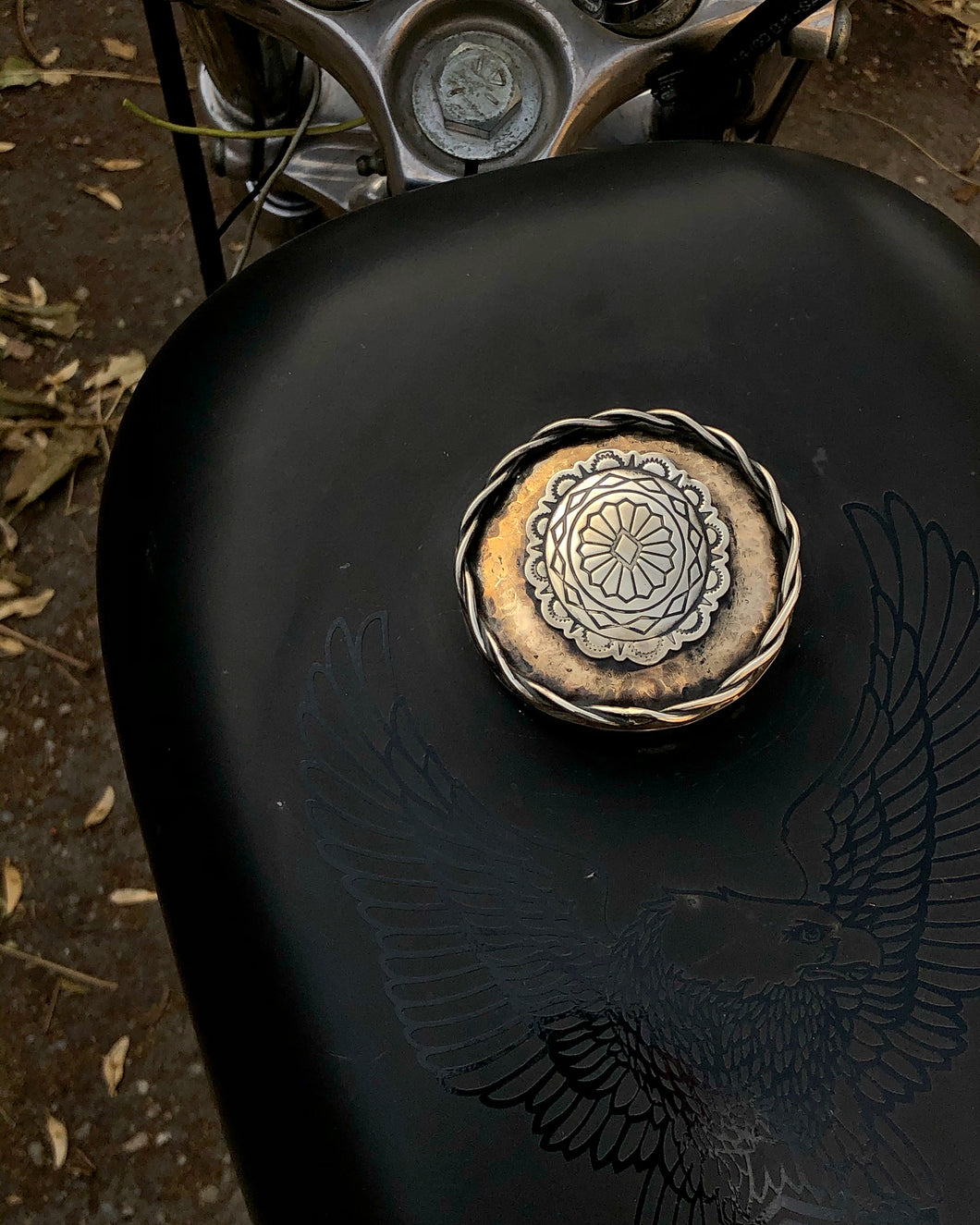 Harley Gas Cap: Textured Brass + Concho