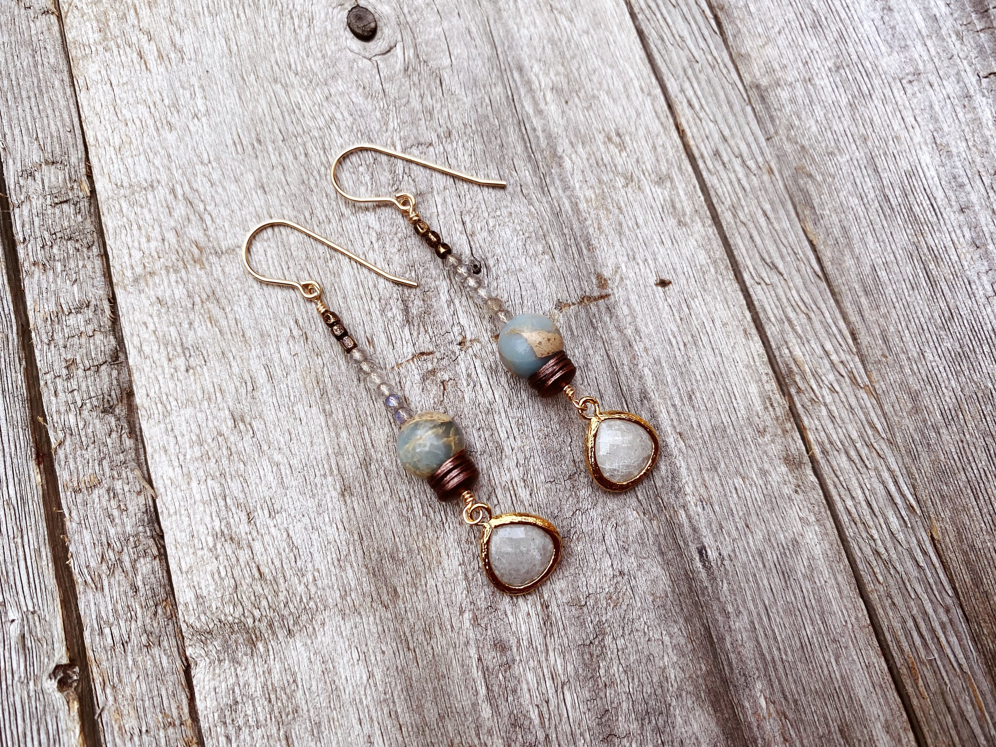 Sea Sediment and Labradorite Earrings