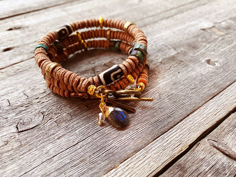 Leather Wrap Bracelet: Solace