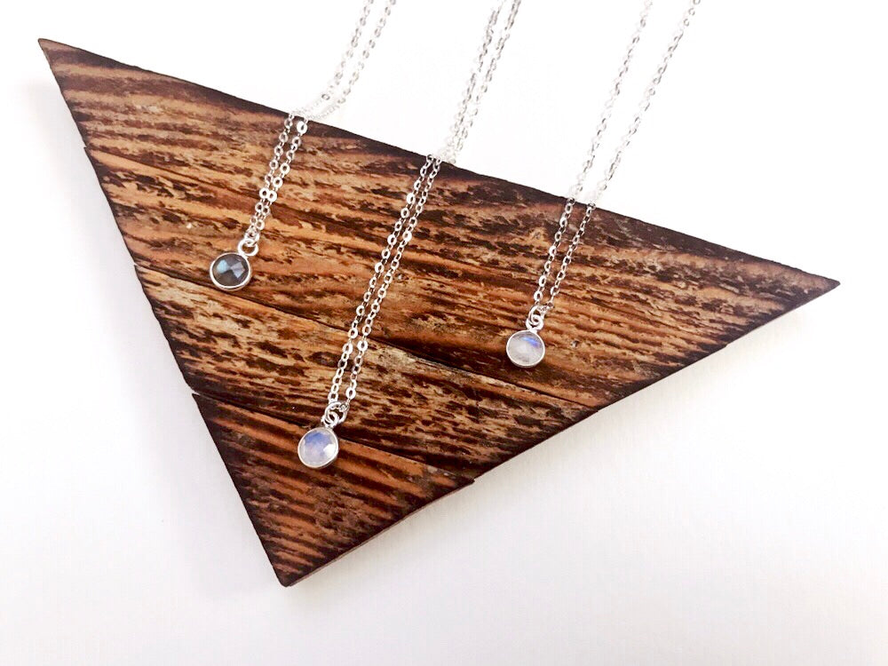 Dainty 100% Sterling Silver Cosmo Gem Necklace