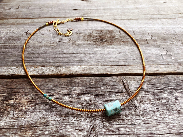 Peruvian Turquoise Barrel Necklace 2