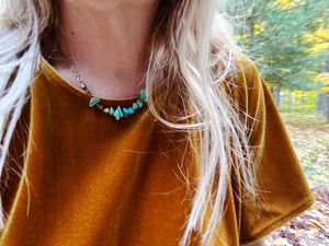 Stone + Brass Necklace