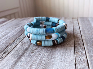 SALE- Maya Blue and Apatite Phono Disc Bracelet