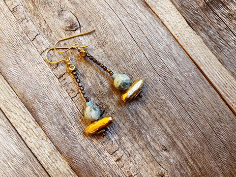 Nature Spirit Earring: Gold+ Tree Moss Agate