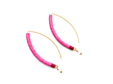 Rica Earring: Rose Pink + Crystal Quartz