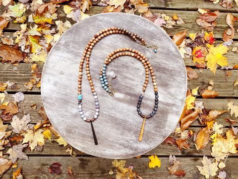 Wood Drop & Gemstone Statement Necklace