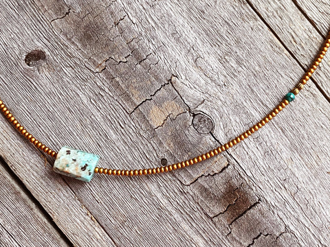 Peruvian Turquoise Barrel Necklace 1