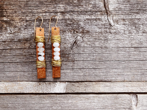 Moonstone Stack Messy Wrap Earring