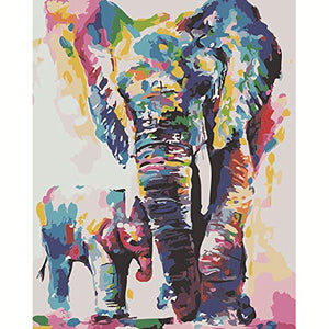 DIY Oil Painting - Paint by Numbers Color Elephants 2