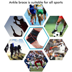 SKUDGEAR Adjustable Ankle Support Compression Brace with Silicone Strips for Sports Protection, Running, Pain Relief (Free Size)