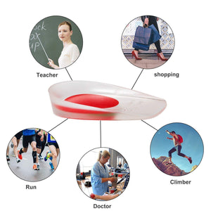 2 Silicone Gel Heel Pads Protector Insole Cups For Plantar Fasciitis Heel Swelling Pain Relief Foot Care Support Cushion for Men And Women - Standard Free Size (1 Pair) - Red