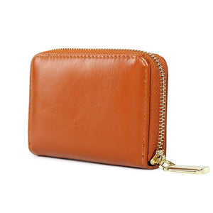 PU Leather Card Holder Zipper Short Unisex Wallet - Brown