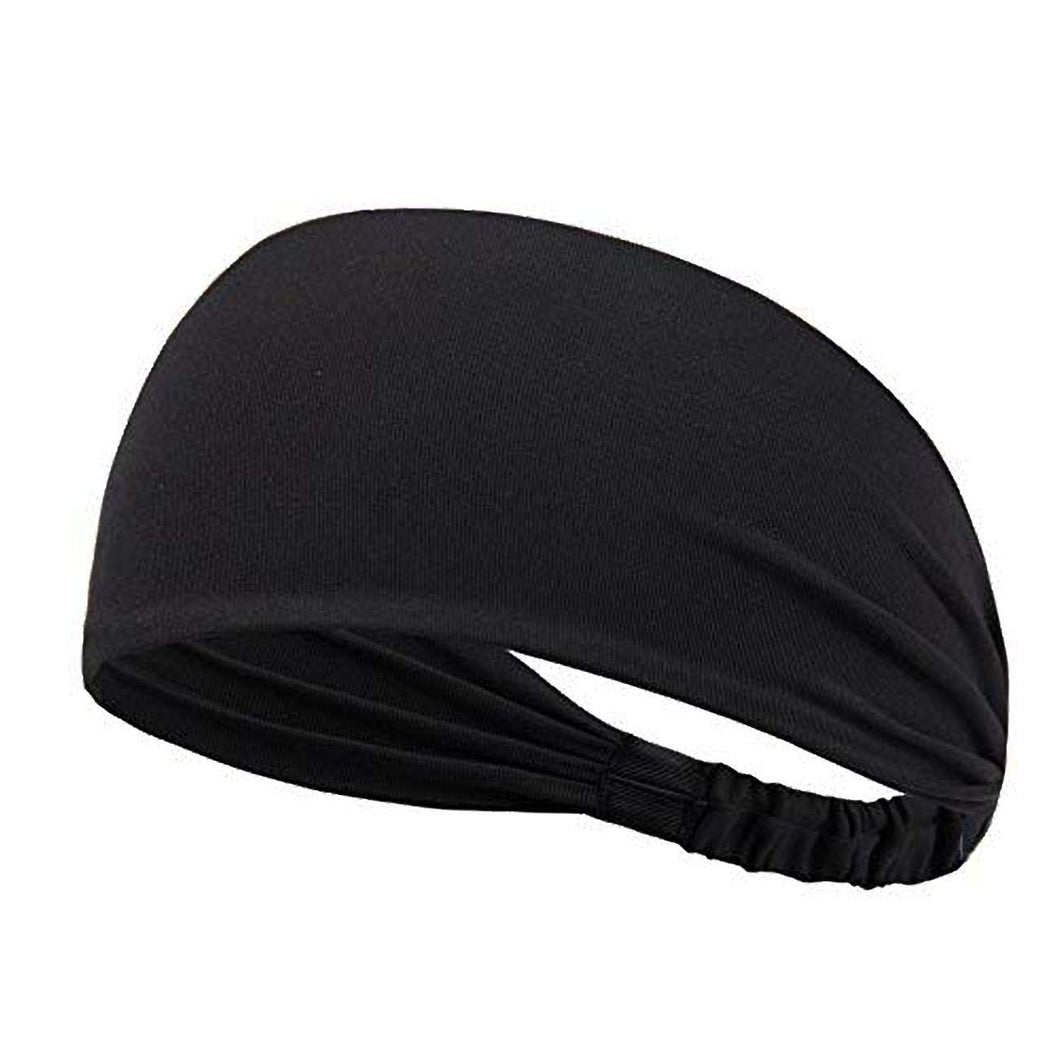 Yoga Sport Athletic Fitness Travel Non-Slip Headband for both Men & Women (Pure Black)