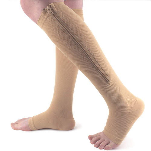 Zipper Compression Socks  Open Toe Calf Support (Skin Color, L/XL)
