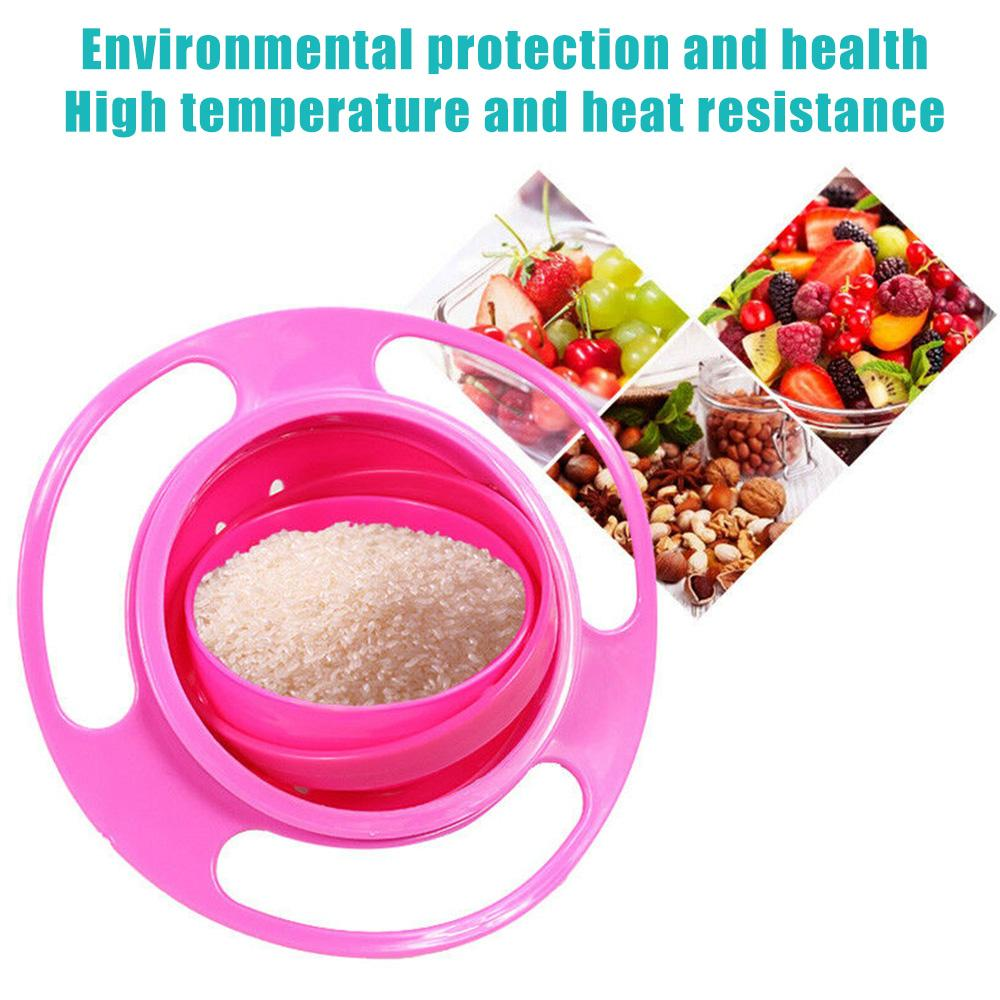 0617 Portable Non Spill Feeding Toddler Gyro Bowl 360 Degree Rotating Dish