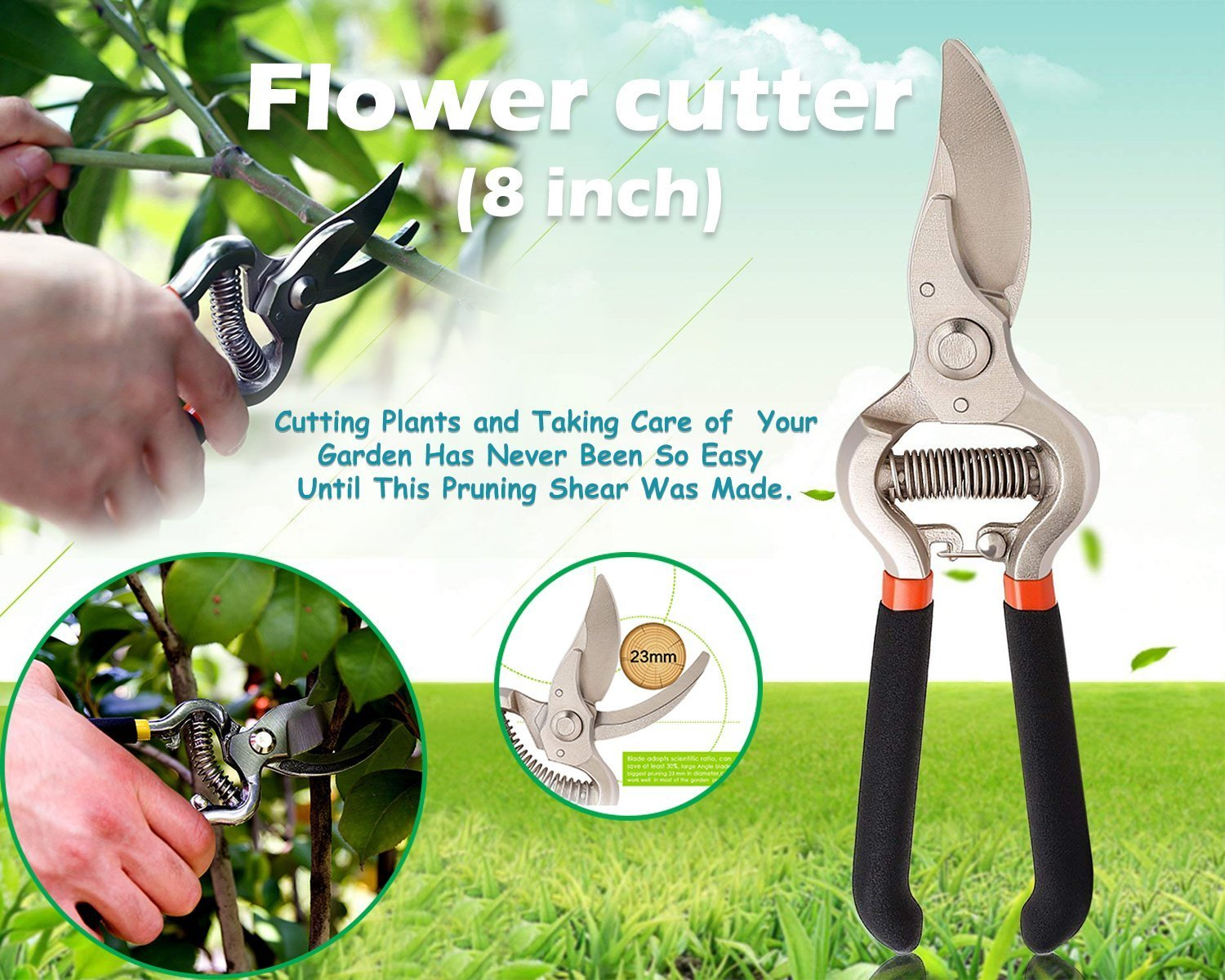 Your Brand Gardening Tools - Water Lever Spray Gun | Cultivator, Small Trowel, Garden Fork | Pressure Garden Spray Bottle | Genie Gloves | Garden Shears Pruners Scissor (8-inch)