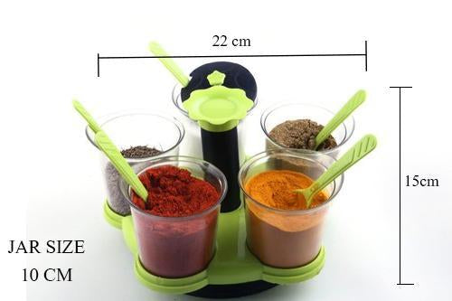 066 -360 Degree Pickle (Achar) / Storage Containers with Black Lids and Spoon (5 Jars with lid, 5 Spoons, 1 Tray) Multicolor