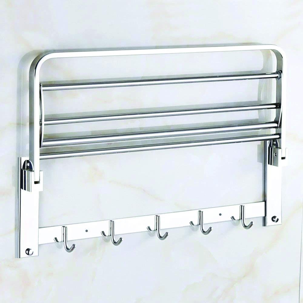 0491 Stainless Steel Folding Towel Rack Cum Towel Bar 18 Inch