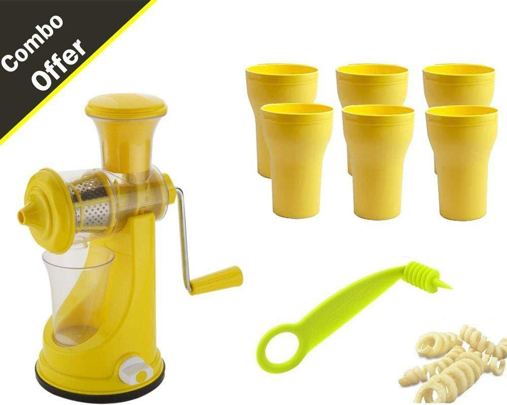 Your Brand Kitchen combo - Mini Fruit Juicer,  4 Glass and Free Spiral Cutter