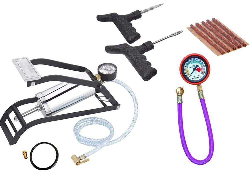 Your Brand Vehicle Tools - Heavy Steel Body Foot Pump, Tyre Puncture Plug Repair Kit with Tyre Air Pressure Gauge Hose (3pcs)