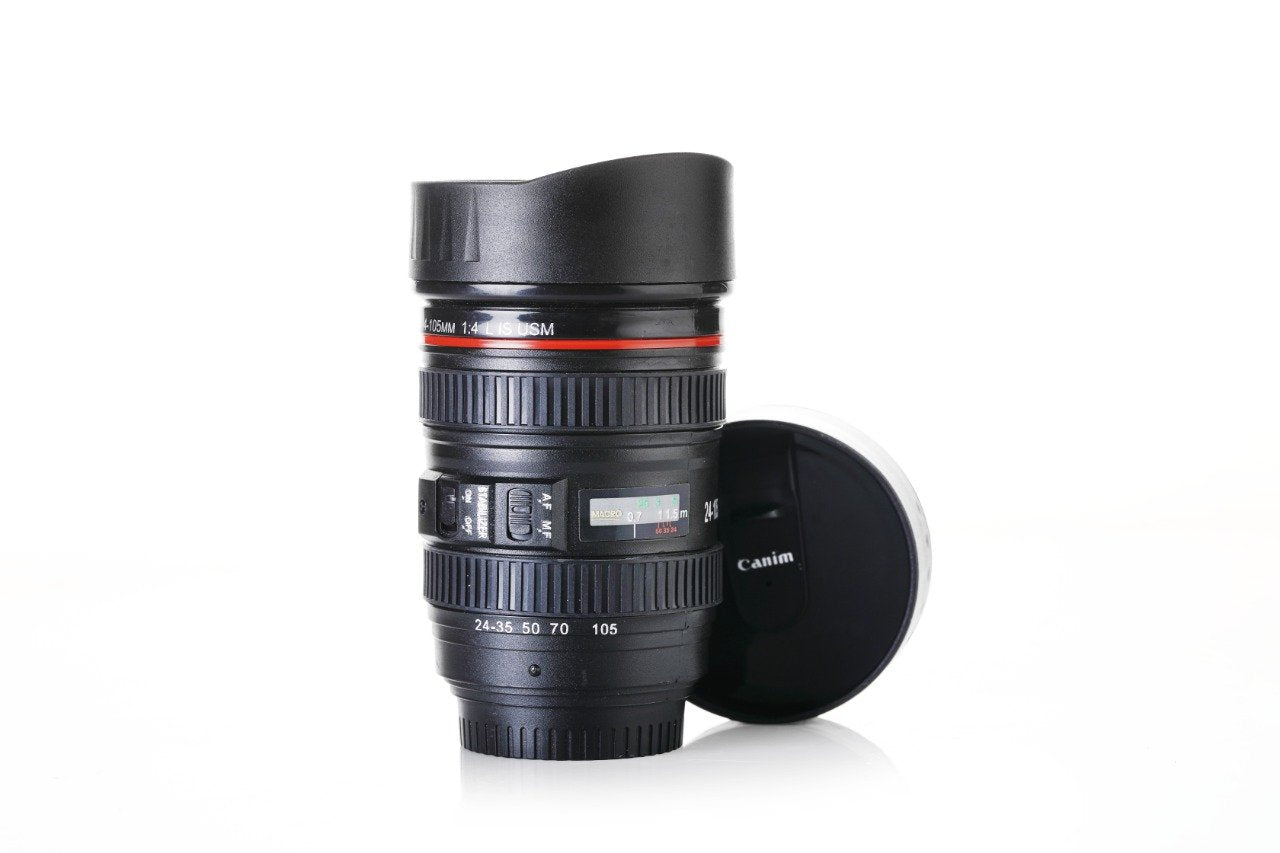 0720 Camera Lens Shaped Coffee Mug Flask With Lid