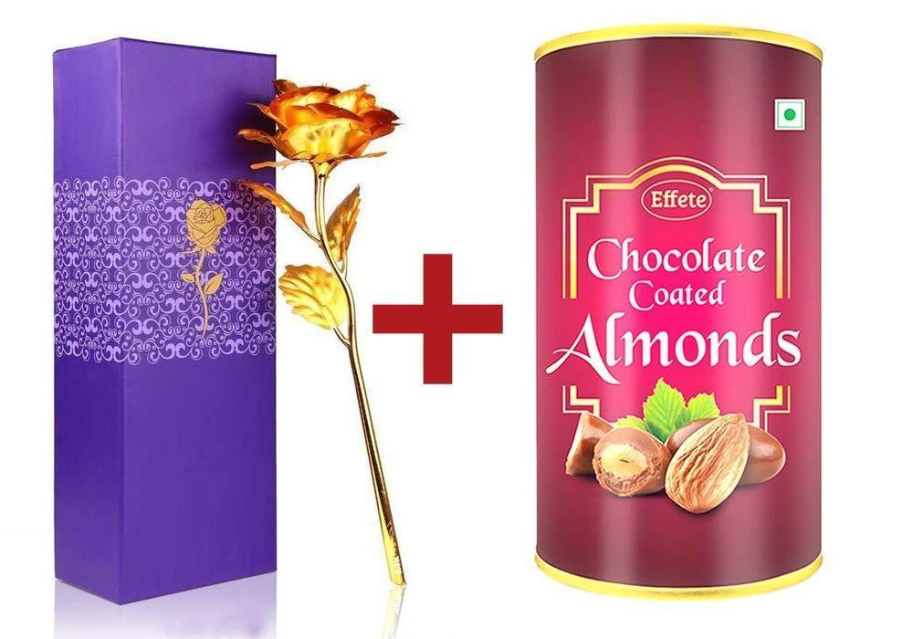 045+879 Effete Festival Gift Combo - Chocolate Coated Roasted Almond 96gm with Golden Rose 10 INCHES with Carry Bag