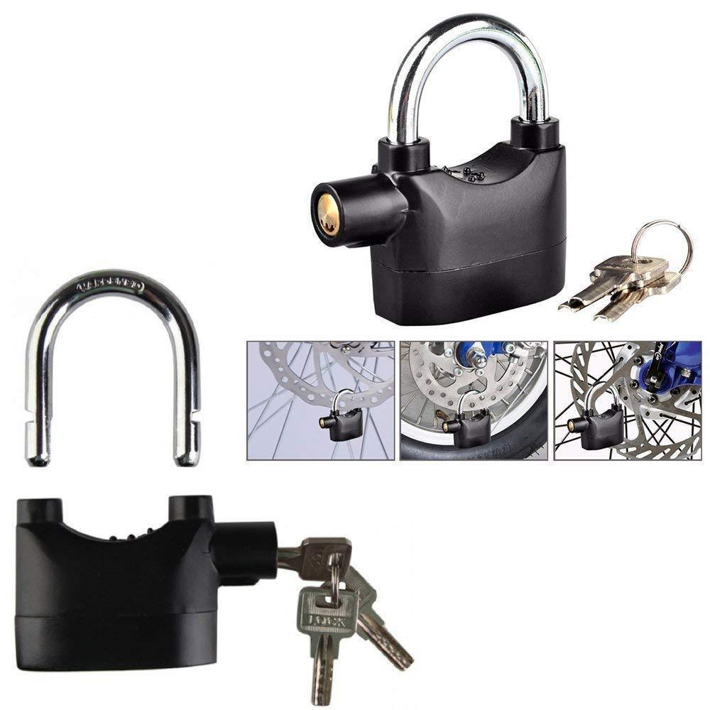 Anti Theft Security Pad Lock with Smart Alarm, Burglar Black Waterproof Siren Alarm, Padlock Electronic Alarm Lock for Door/Bicycle/Motorbike - Black