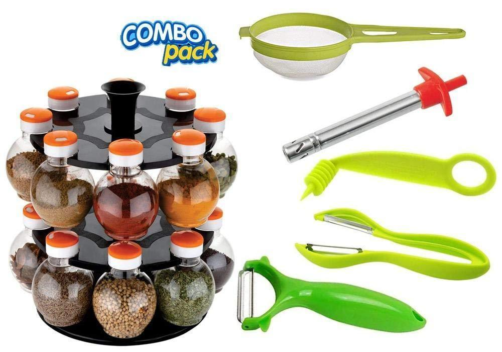 Your Brand Kitchen combo - Revolving 16pc Plastic Spice Rack, Vegetables Spiral Cutter, Gas Lighter, Big Tea Strainer Sieve/Chai Chalni with Single sided & Double sided peeler (6 pcs)