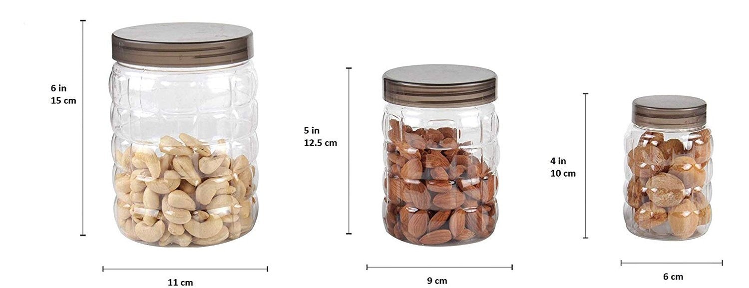 598 3pcs Stone Jars Set (Big 1200ml, Medium 600ml & Small 250ml size)