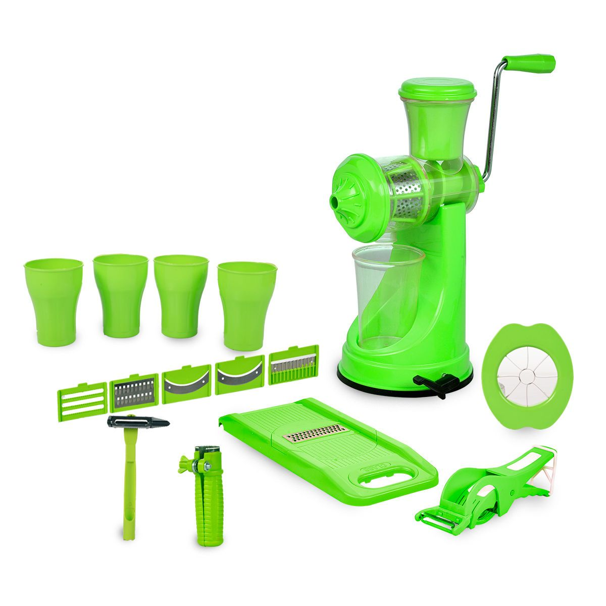 2042 Kitchen Combo - Juicer, 6 in 1 Slicer, Vegetable Cutter, Corn Cutter, Spiral Cutter, 4 in 1 Peeler, Orange Peeler, Apple Cutter and 4pc Glasses