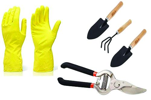 TechEkart Gardening Tools - Reusable Rubber Gloves, Flower Cutter & Garden Tool Wooden Handle (3pcs-Hand Cultivator, Small Trowel, Garden Fork)