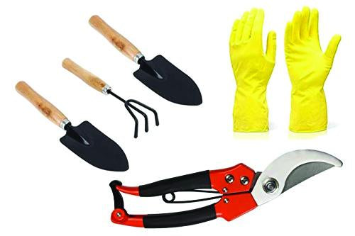 TechEkart Gardening Tools - Reusable Rubber Gloves, Pruners Scissor(Flower Cutter) & Garden Tool Wooden Handle (3pcs-Hand Cultivator, Small Trowel, Garden Fork)