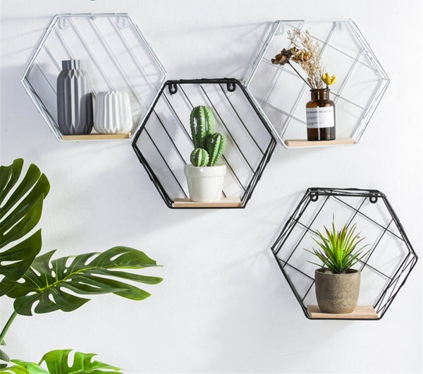 Hemp Rope Partition Innovative Wall Hanging Shelf Organizer Hexagonal Iron Shelf Decoration Bathroom Home Shelf Etagere