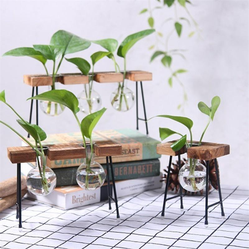 Adeeing Fashionable Transparent Glass Vase with Wooden & Iron Stand for Water Planting Decoration Gift