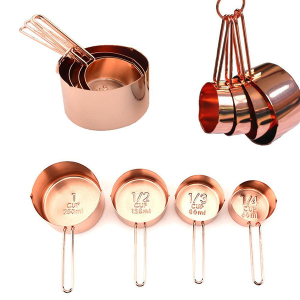4Pcs Stainless steel Measuring Cups Set Luxury Copper Plated Kitchen Measuring Tools For Baking Coffee Tea Cuchara dosificadora