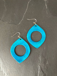 Gold, Silver, Red, Turquoise Blue, Navy Blue Leather Hoop Earrings