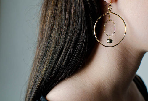 Double Hoop Earring with Pyrite in Gold