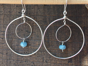 Sterling Silver Double Hoop Earrings with Aquamarine Stone