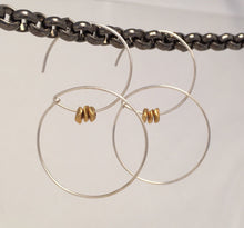 Sterling silver small hoop earrings with brass gold nuggets