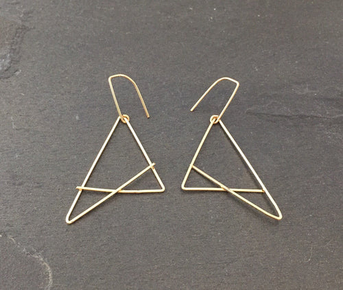 Gold Triangle Crisscross Earrings