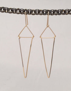 Gold Triangle Art Deco Earrings