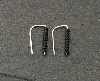 Silver climber earrings with black beads