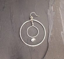Double Hoop Earring with Faceted Clear Quartz bead in 14k Gold or Silver