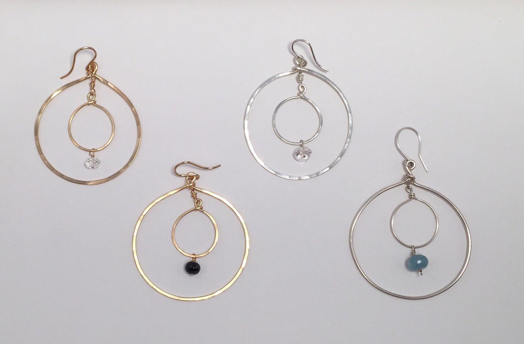 Double Hoop Earrings with Black Onyx Bead in 14k Gold or Silver