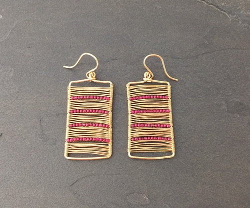 Gold Wire Wrapped Rectangle Earrings with Garnets
