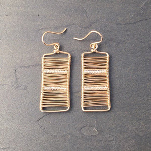 Gold Wire Wrapped Rectangle Earrings with White Topaz